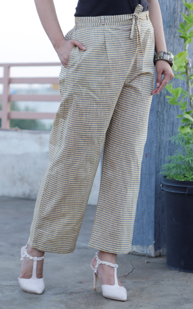 Green Beige Cotton Stripe Pant with Belt-33646