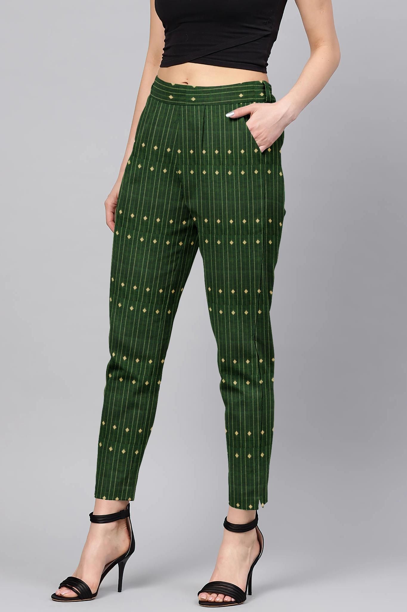 Green Beige Cotton Stripe Regular Fit Solid Trouser-36066