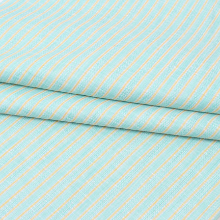 Green Beige Striped Handloom Cotton Fabric-40777