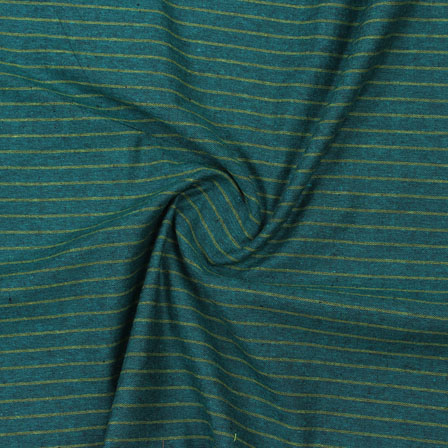 Green Beige Striped Handloom Cotton Fabric-40772