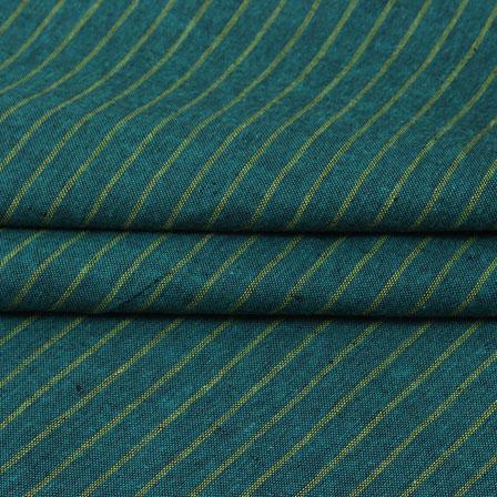 Green Beige Striped Handloom Cotton Fabric-40772