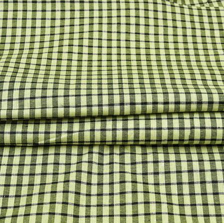 Green Black Checks Cotton Handloom Fabric-42225