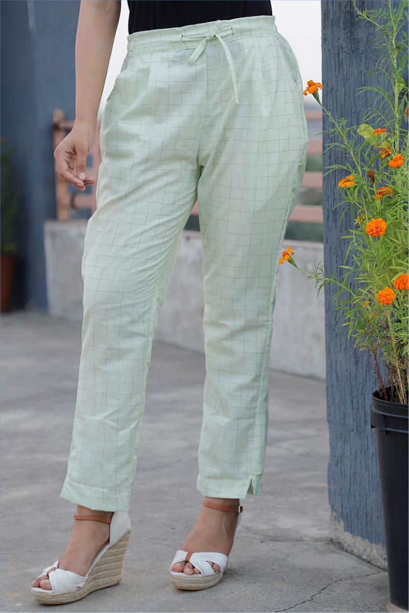Green Black Cotton Checks Pant with Belt-34063