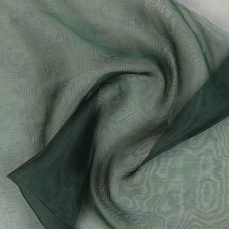 Green Black Digital Organza Silk Fabric-51718