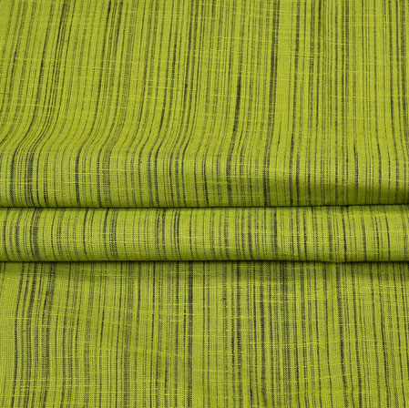 Green Black Plain Handloom Fabric-42042