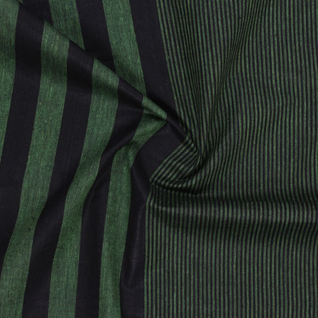 Green Black Striped Handloom Khadi Cotton Fabric-40722
