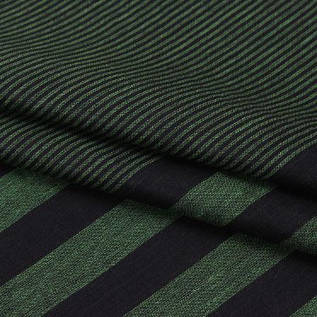 Cotton Shirt (2.25 Meter)-Green Black Striped Handloom-140722