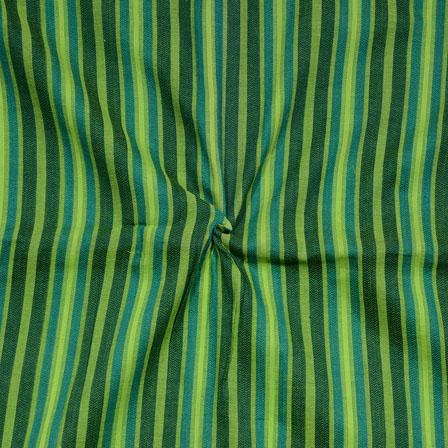 Green Black Stripes Print South Cotton Fabric-15225