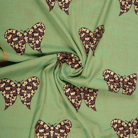 Green-Black and Golden Butterfly Design Rayon Slub Fabric-75095
