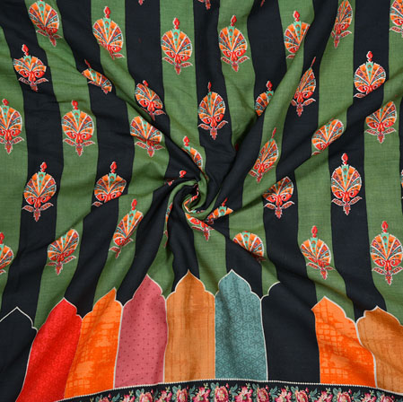 Green Black and Pink Pannel Work Rayon Fabric-28191
