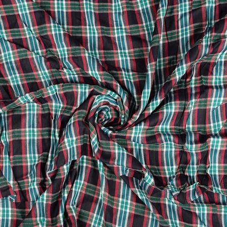 Green-Black and Red Checks Rayon Shirt Fabric-40255