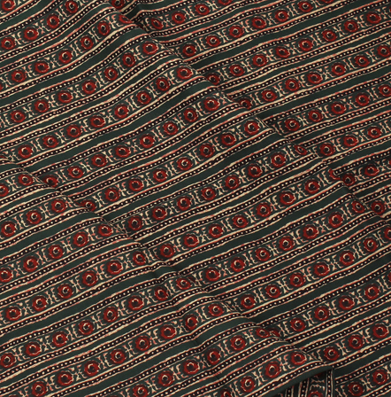 Green-Black and Red Floral Design Block Print Rayon Fabric-15062