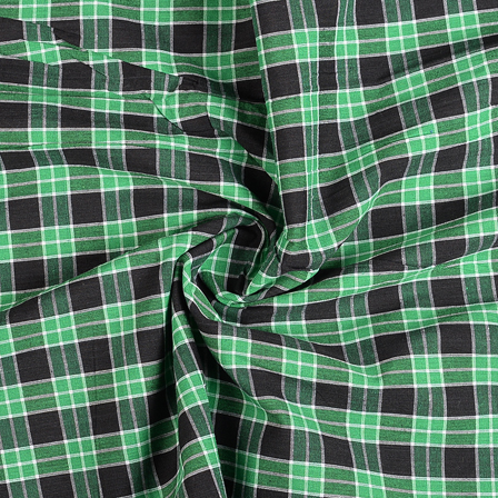 Green-Black and White Checks Cotton Handloom Khadi Fabric-40290