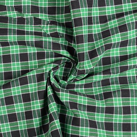 Green-Black and White Checks Cotton Handloom Fabric-40290