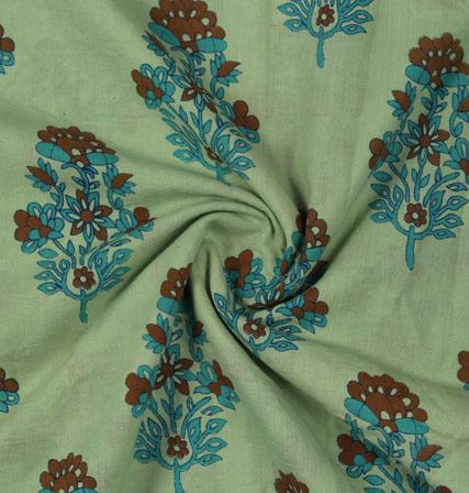 Green Blue Block Print Cotton Fabric-16146