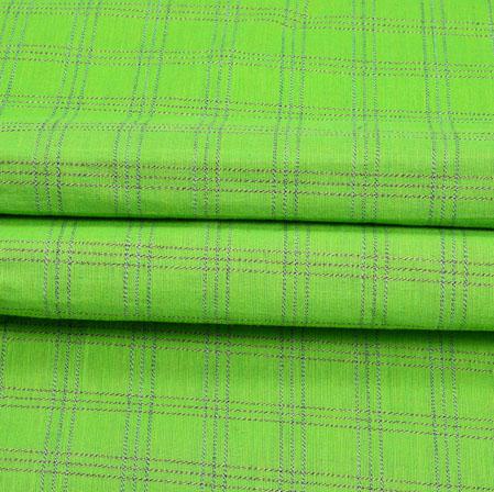 Green Blue Check Handloom Cotton Fabric-41007