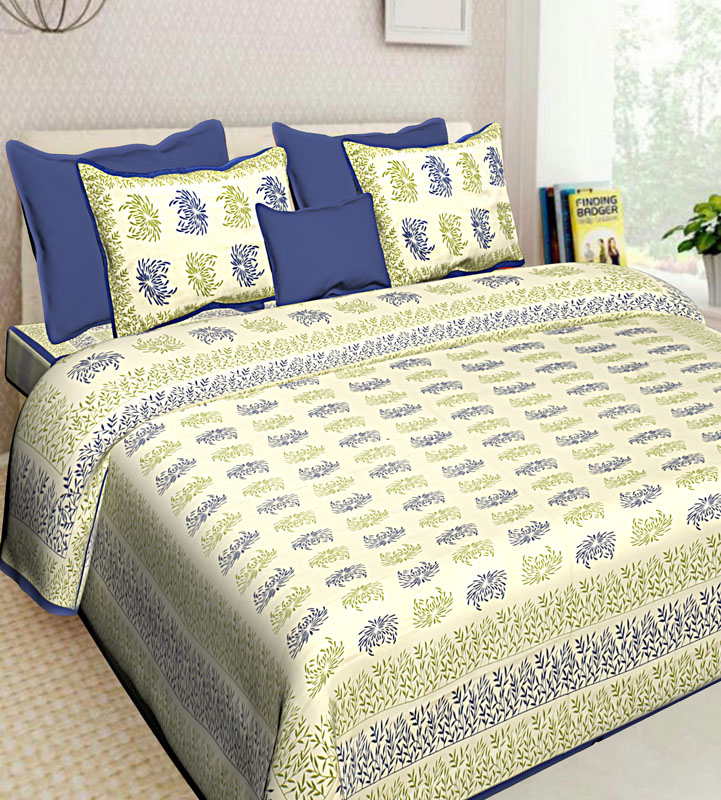 Green Blue Cotton Jaipuri Bedsheet-646