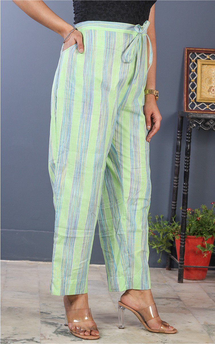 Green Blue Cotton Stripe Pant-35194