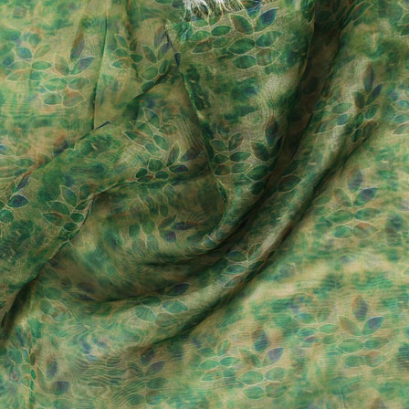 Green Blue Digital Organza Silk Fabric-51528