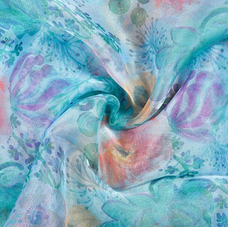 Green Blue Floral Organza Digital Silk Fabric-22402