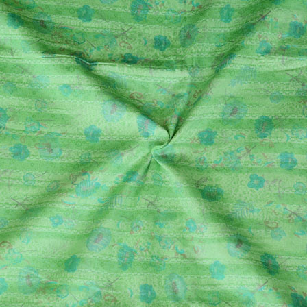 Green Blue Floral Print Glazed Cotton Fabric-15208