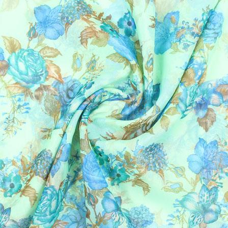 Green Blue Flower Organza Digital Silk Fabric-51496