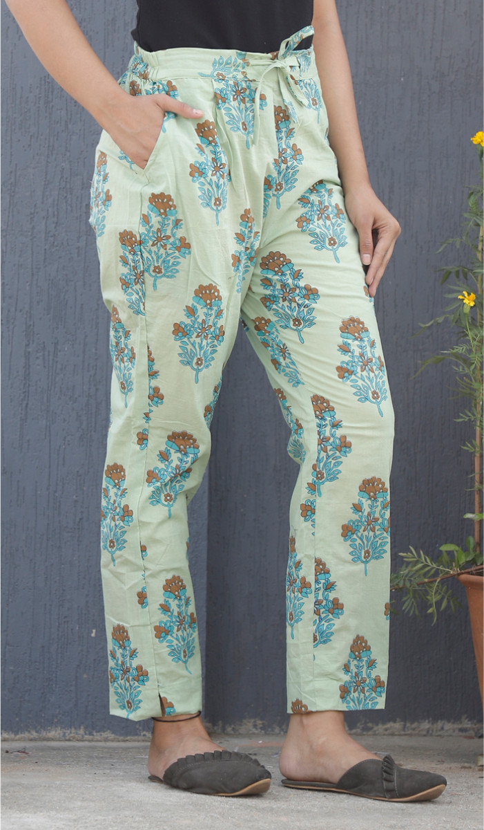 Green Blue Mughal Block Print Cotton Pant-34120