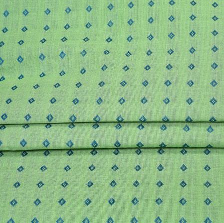 Green Blue Plain Handloom Fabric-42039