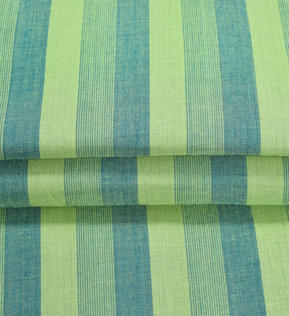 Green Blue Stripe Handloom Cotton Fabric-41001
