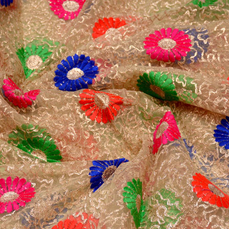 Green-Blue and Beige Floral Shape Embroidery Net Fabric-5251