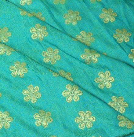 Green-Blue and Golden Floral Design Brocade Silk Fabric-8331