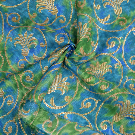 Green-Blue and Golden Flower Design Kota Doria Fabric-25095