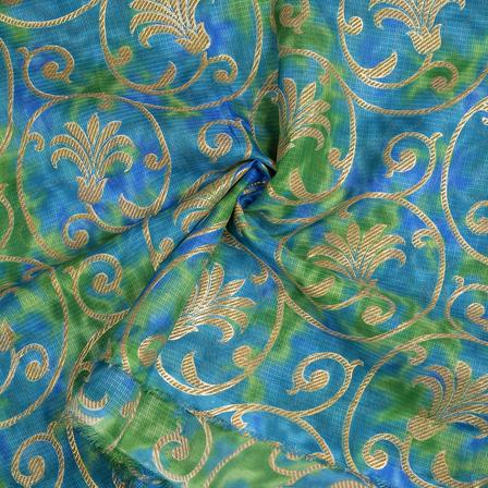 Green-Blue and Golden Flower Design Kota Doria Fabric-25095