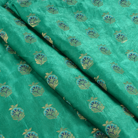 Green-Blue and Golden Jam Cotton Silk Fabric-75143