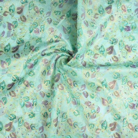 Green-Blue and Golden Leaf Organza Print Fabric-51290