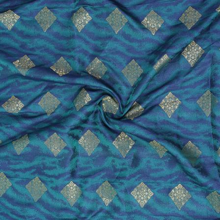 Green-Blue and Golden Square Design Brocade Silk Fabric-8361