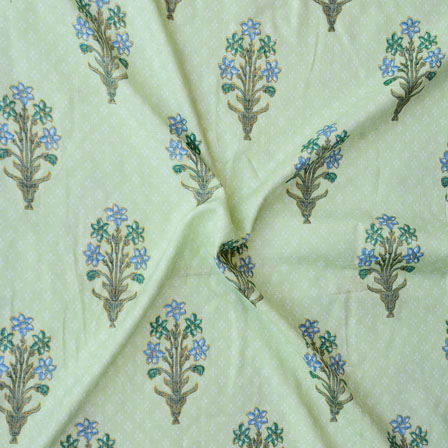 Green Blue and Green Floral Print Rayon Fabric-15196