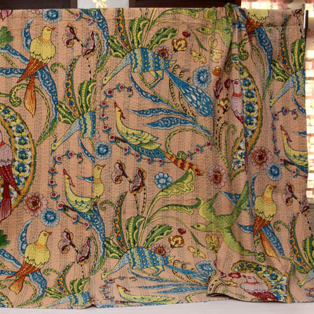 Green-Blue and Peach Handmade Bird Pattern Kantha Quilt-4367