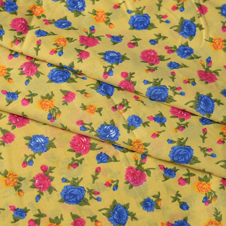 Green-Blue and Pink Flower Design Block Print Cotton Fabric-14433