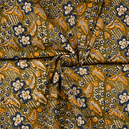 Green-Blue and Yellow Floral Design Kalamkari Cotton Block Print Fabric-14365