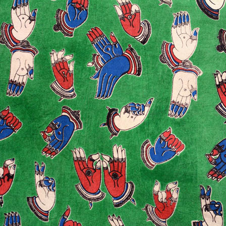 Green-Blue and red small hand kalamkari cotton fabric 4510