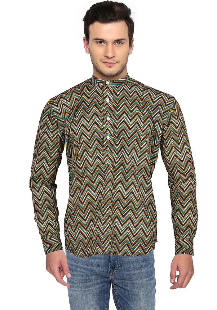 Green Brown Block Cotton Short Kurta-33174