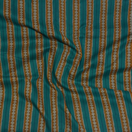 Green Brown Block Print Cotton Fabric-14583