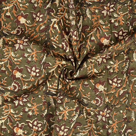 1 MTR-Green-Brown and Cream Floral Design Kalamkari Cotton Block Print Fabric-14375