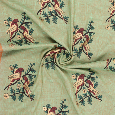 Green-Brown and Golden Bird Jam Cotton Silk Fabric-75177