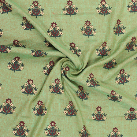 Green-Brown and Golden Floral Jam Cotton Silk Fabric-75174