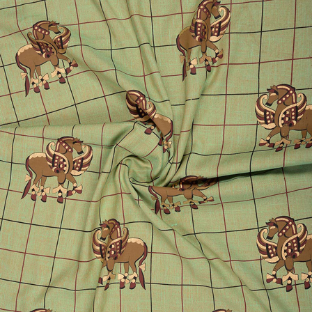 Green-Brown and Golden Rayon Slub Fabric-75084