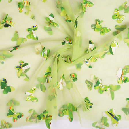 Green Butterfly Net Embroidery Fabric-60670
