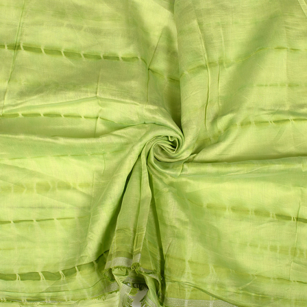 Green Chanderi Silk Fabric-9040