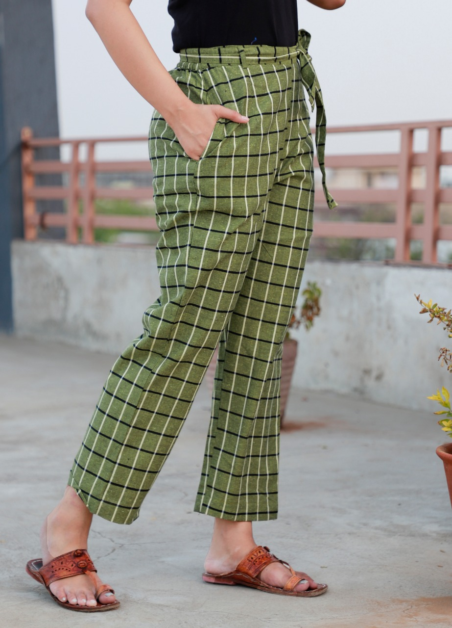 Green Cotton Checks Women Pants with Loose Belt-33241